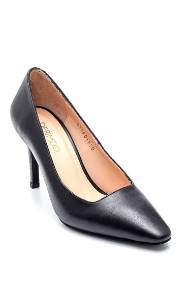 Siyah Kadın Deri Topuklu Ayakkabı 5638305814