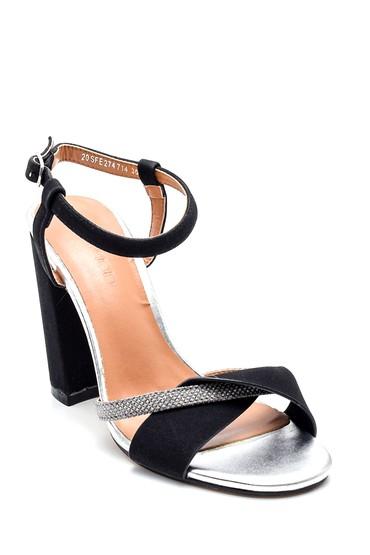 Siyah Kadın Casual Topuklu Sandalet 5638133031