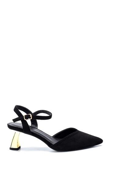 Siyah Kadın Süet Topuklu Sandalet 5638259236