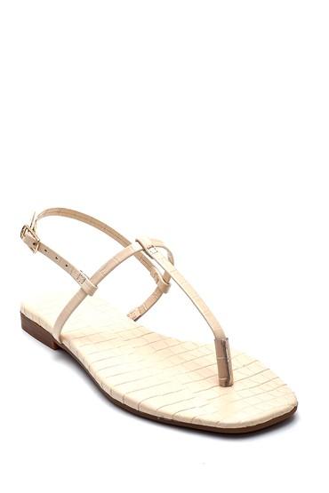 Bej Kadın Kroko Deri Parmak Arası Sandalet 5638266220