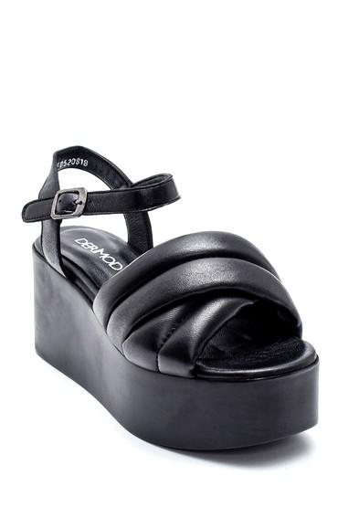 Siyah Kadın Dolgu Topuklu Deri Sandalet 5638270184