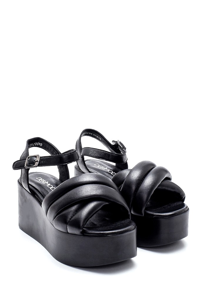 5638270184 Kadın Dolgu Topuklu Deri Sandalet