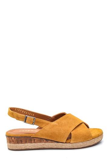Sarı Kadın Casual Süet Deri Sandalet 5638284661