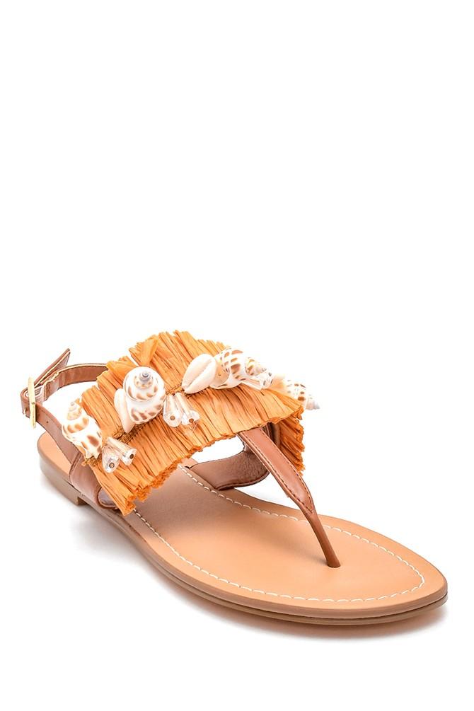 5638135518 Kadın Deniz Kabuğu Detaylı Parmak Arası Sandalet
