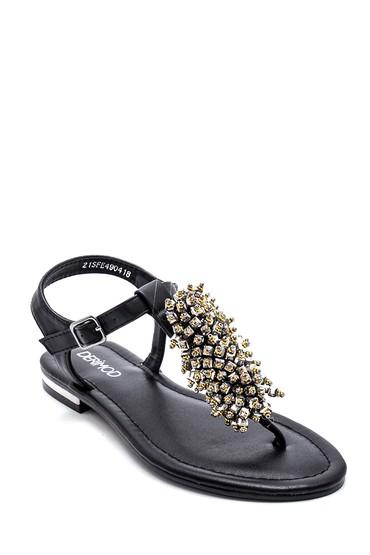 Siyah Kadın Boncuk Detaylı Sandalet 5638258250