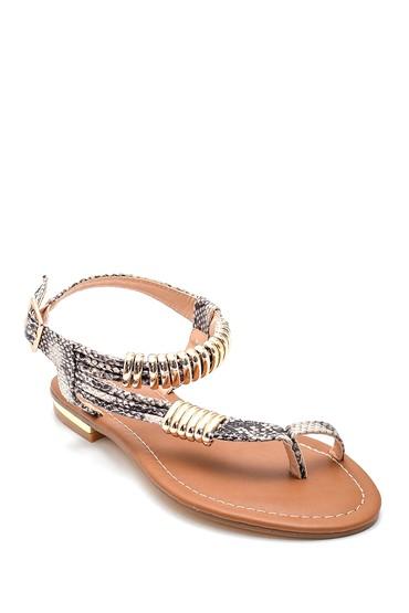 Bej Kadın Parmak Arası Detaylı Casual Sandalet 5638258296