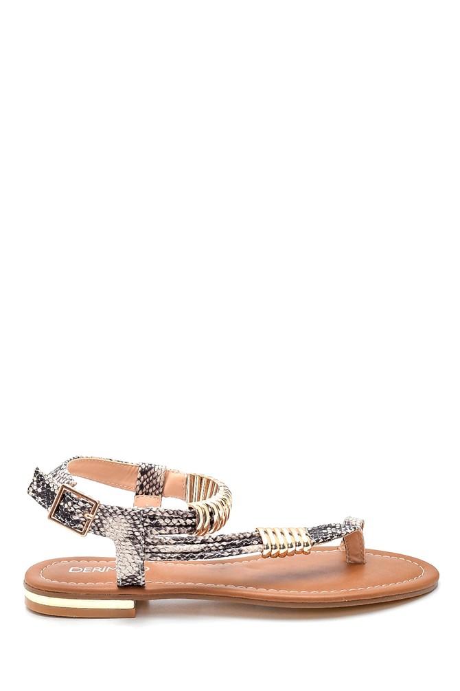 Bej Kadın Parmak Arası Detaylı Casual Sandalet 5638258292