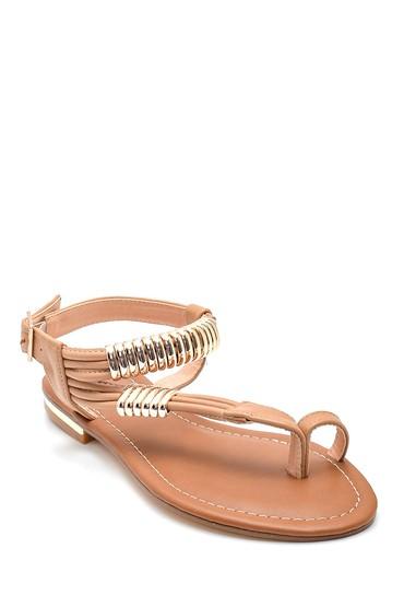 Taba Kadın Parmak Arası Detaylı Casual Sandalet 5638258294