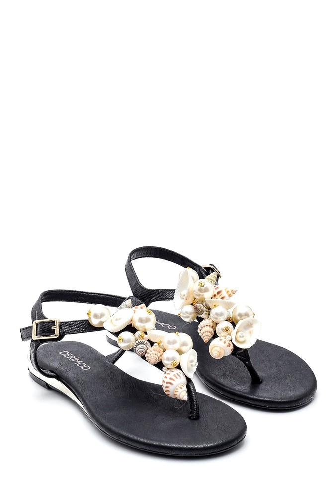 5638135575 Kadın Deniz Kabuğu Detaylı Parmak Arası Sandalet
