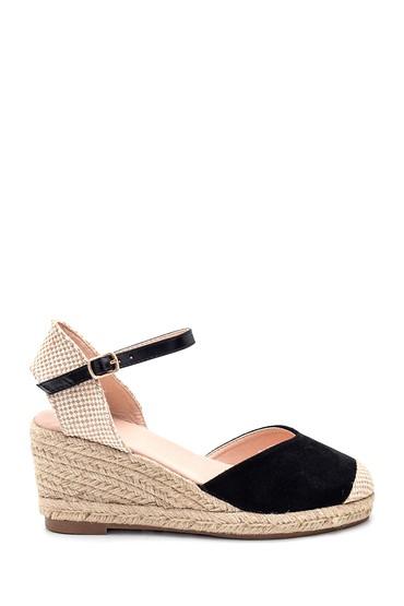 Siyah Kadın Hasır Dolgu Topuklu Sandalet 5638261065