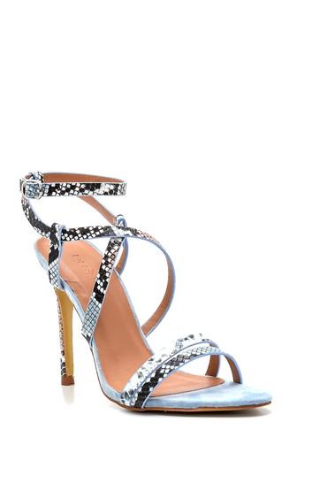 Mavi Kadın Yılan Baskılı Topuklu Sandalet 5638263622