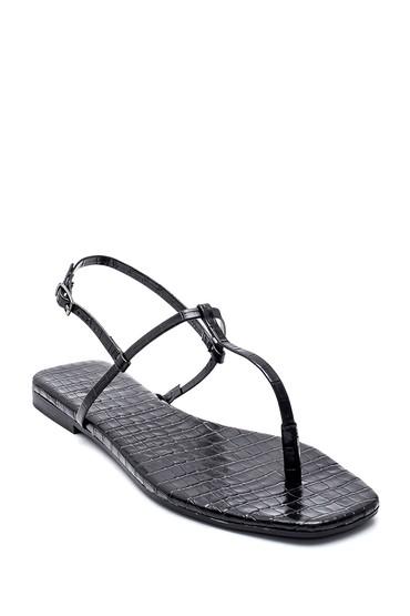 Siyah Kadın Kroko Deri Parmak Arası Sandalet 5638266218