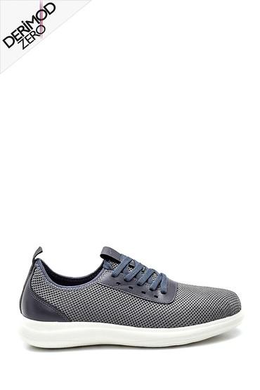 Gri Erkek Deri Detaylı Çorap Sneaker 5638257796