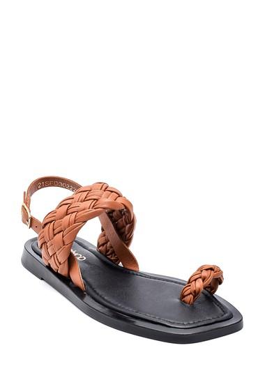 Taba Kadın Deri Örgülü Sandalet 5638262096