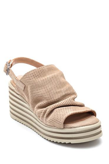 Bej Kadın Deri Süet Dolgu Topuk Sandalet 5638270165