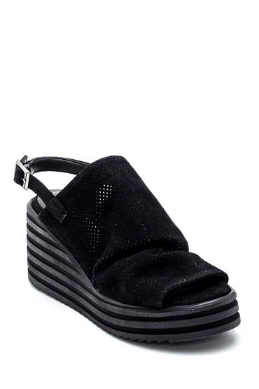 Siyah Kadın Deri Süet Dolgu Topuk Sandalet 5638270166