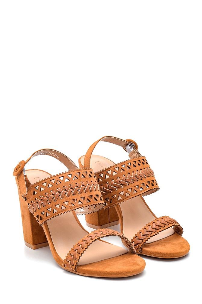 5638261104 Kadın Örgülü Topuklu Sandalet