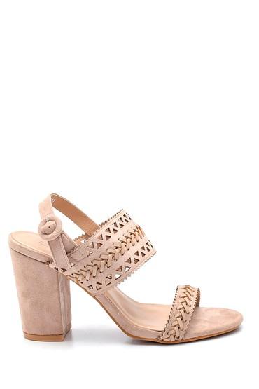 Bej Kadın Örgülü Topuklu Sandalet 5638261094