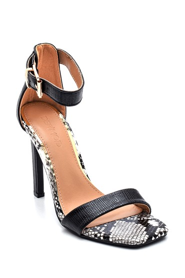 Siyah Kadın Casual Topuklu Sandalet 5638261142
