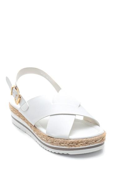 Beyaz Kadın Dolgu Topuk Sandalet 5638262411