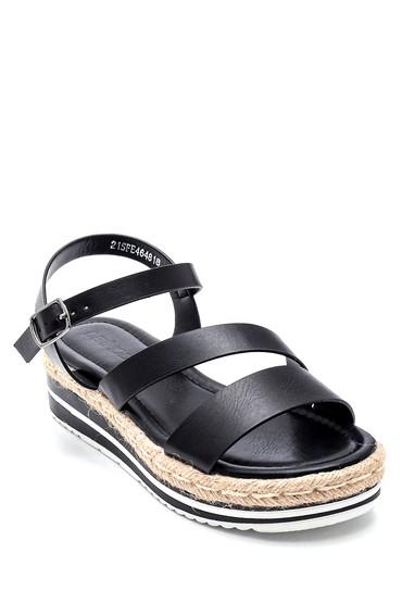 Siyah Kadın Dolgu Topuk Sandalet 5638263140