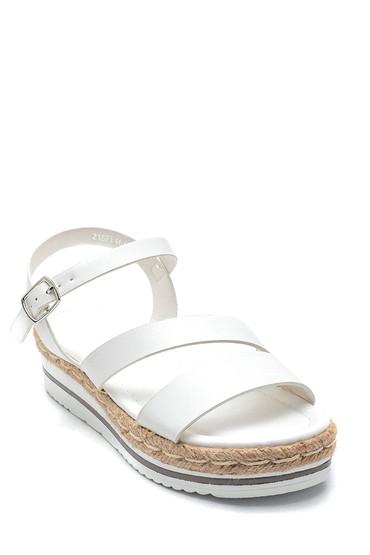 Beyaz Kadın Dolgu Topuk Sandalet 5638263142