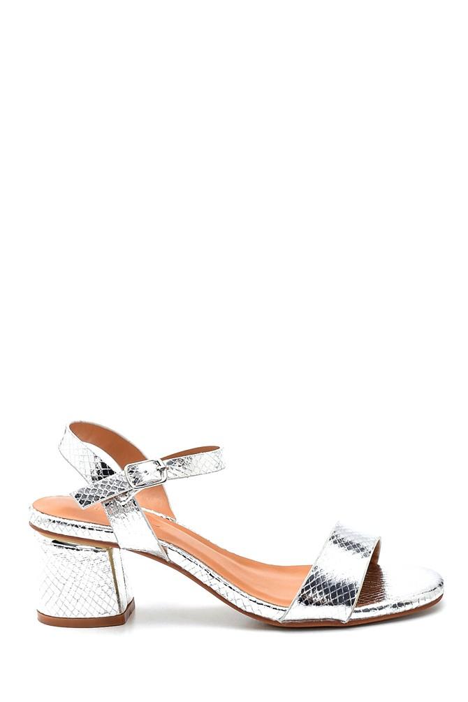 Gümüş Kadın Casual Topuklu Sandalet 5638263345