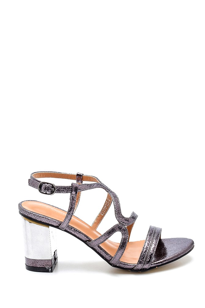 Gri Kadın Casual Topuklu Sandalet 5638263387