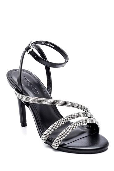 Siyah Kadın Casual Topuklu Sandalet 5638268642