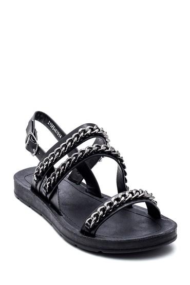 Siyah Kadın Zincir Detaylı Sandalet 5638271142