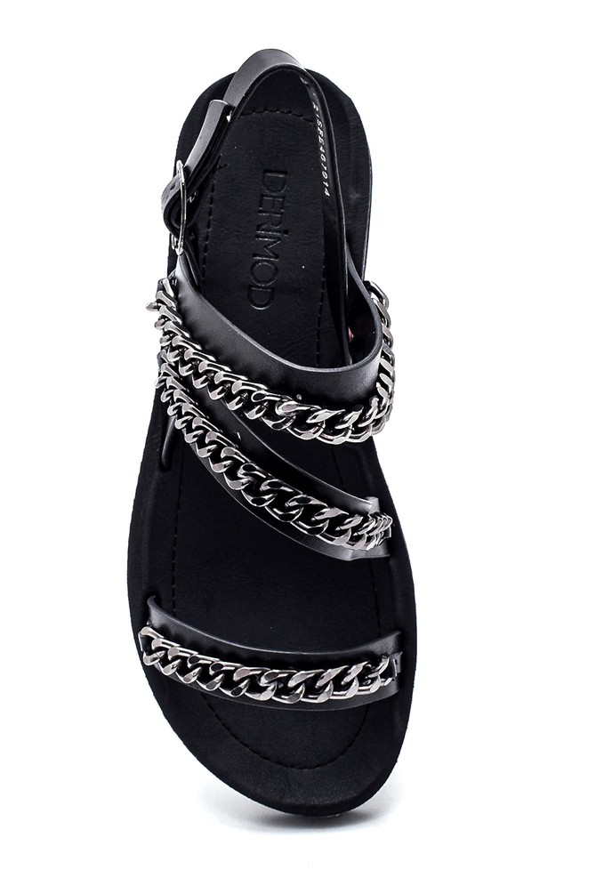 5638271142 Kadın Zincir Detaylı Sandalet