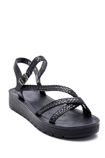 Siyah Kadın Örgülü Sandalet 5638271165