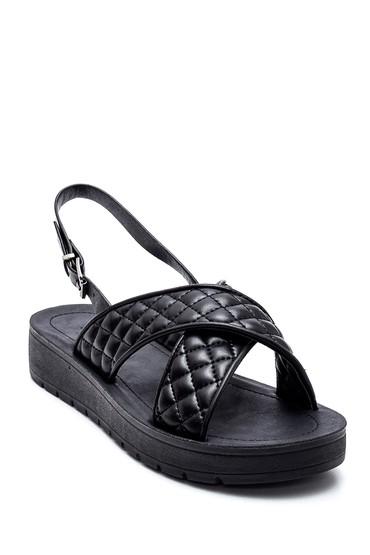 Siyah Kadın Örgülü Sandalet 5638271205
