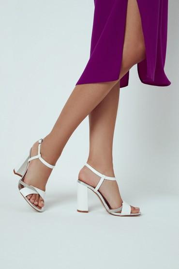 Beyaz Kadın Casual Topuklu Sandalet 5638133040