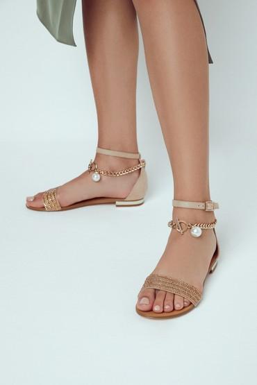 Altın Kadın Zincir Detaylı Sandalet 5638255722