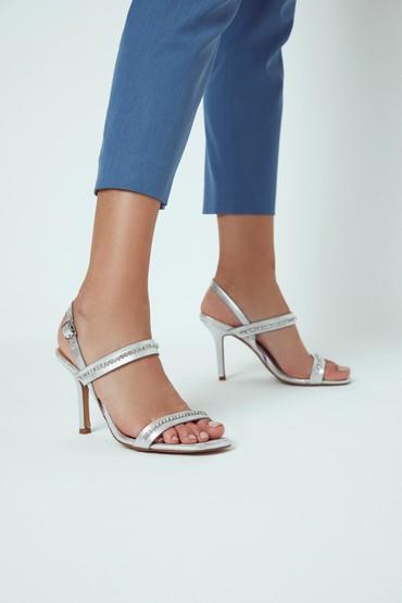 Gümüş Kadın Taş Detaylı Casual Topuklu Sandalet 5638263536