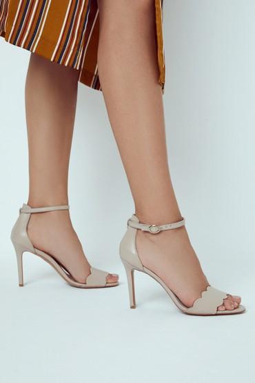 Bej Kadın Deri Topuklu Ayakkabı 5638291491