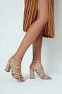 5638298046 Kadın Örgü Detaylı Topuklu Deri Sandalet