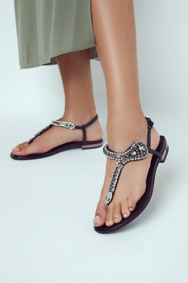 Siyah Kadın Casual Taş Detaylı Sandalet 5638267287