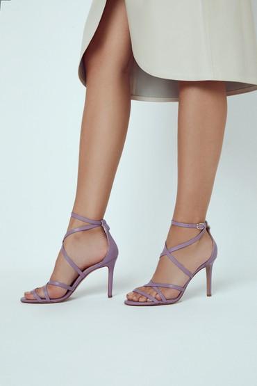 Lila Kadın Deri Topuklu Ayakkabı 5638289114