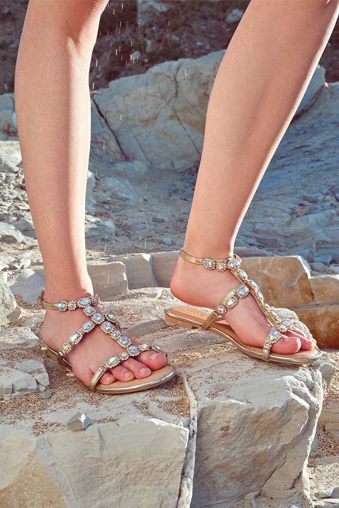 Altın Kadın Casual Taş Detaylı Sandalet 5638137586