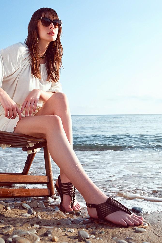 Kahverengi Kadın Örgü Detaylı Sandalet 5638258385