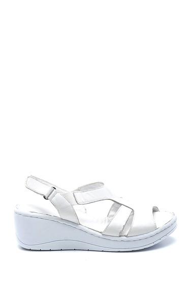 Beyaz Kadın Comfort Dolgu Topuk Deri Sandalet 5638273838