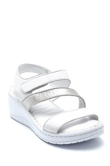 Beyaz Kadın Deri Sandalet 5638273876