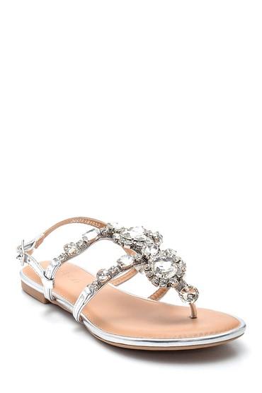 Gümüş Kadın Taşlı Sandalet 5638137572