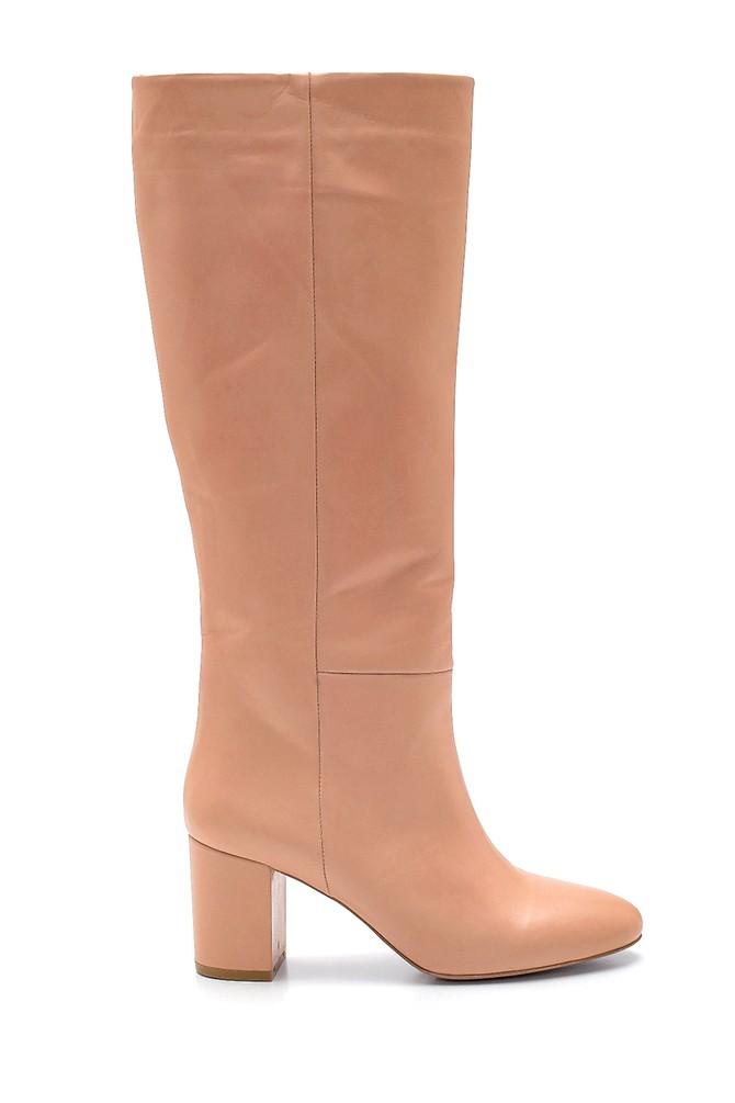 Pudra Kadın Deri Topuklu Çizme 5638202778