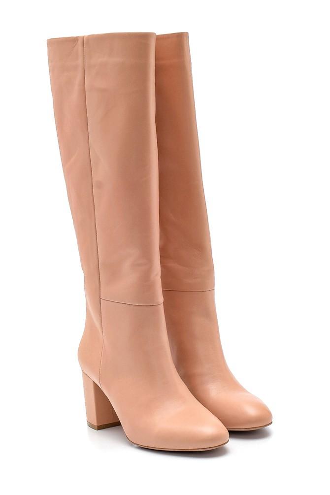 5638202778 Kadın Deri Topuklu Çizme