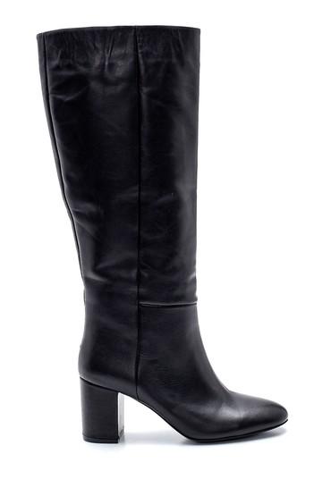 Siyah Kadın Deri Topuklu Çizme 5638202780