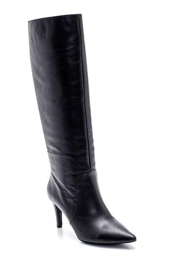 Siyah Kadın Deri Topuklu Çizme 5638202791