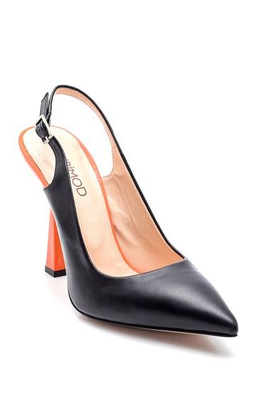 Siyah Kadın Deri Topuklu Ayakkabı 5638281214